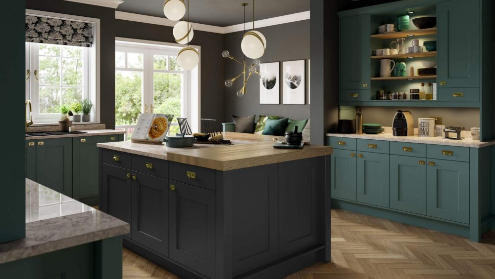 Florence kitchen Viridian and Graphite