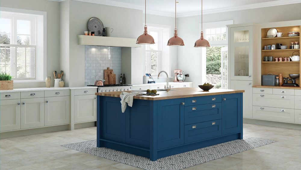 Wakefield kitchen painted Parisian blue and mussel
