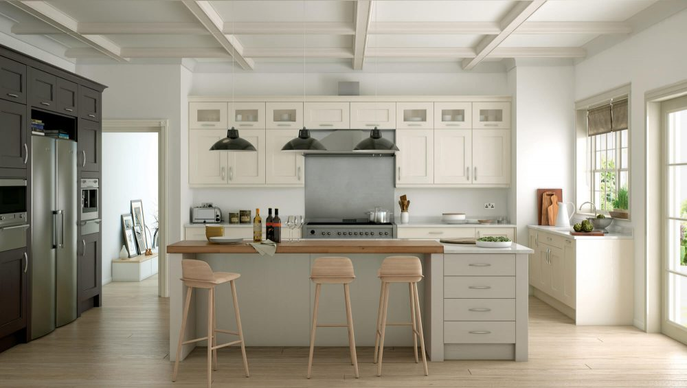 Wakefield kitchen painted ivory and stone lava